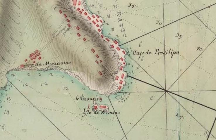 1 Carta del Golfo di Napoli del 1707 da Royome de Naples da BNE - Dettaglio Capo di Posillipo - vesuvioweb 2014