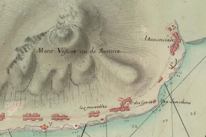 1 Carta del Golfo di Napoli del 1707 da Royome de Naples da BNE - Dettaglio Granatello, gli Incurabili, Torre del Greco e Annunziata - vesuvioweb 2014