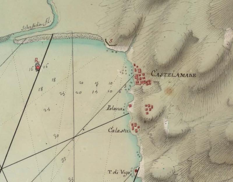 1 Carta del Golfo di Napoli del 1707 da Royome de Naples da BNE - Dettaglio del Sarno, Castellammare e Vico - vesuvioweb 2014