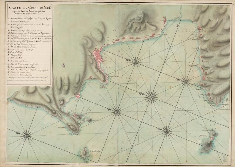1 Carta del Golfo di Napoli del 1707 da Royome de Naples da BNE - vesuvioweb 2014