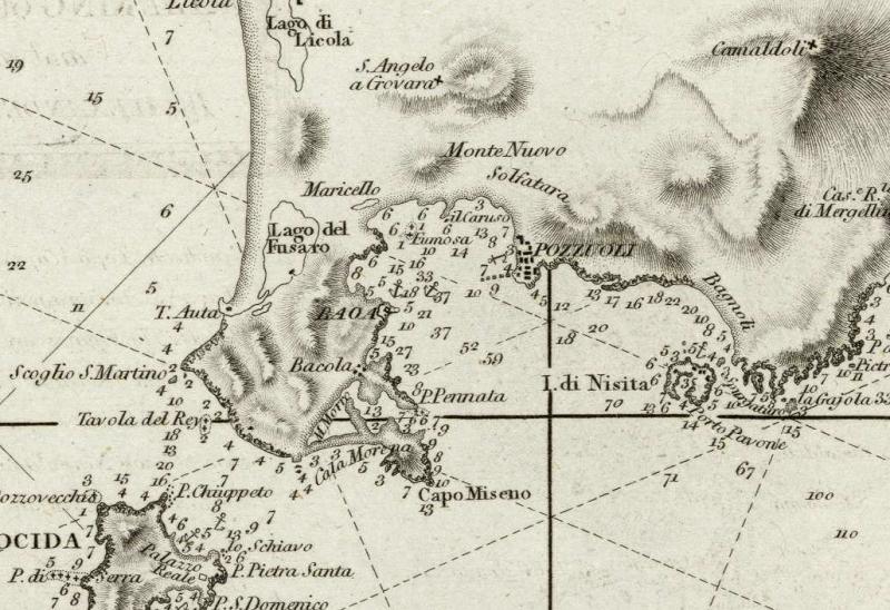 1 Cartografia del Golfo di Napoli da Le Petit Neptune del 1793 - Dettaglio Baia di Pozzuoli e Miseno - vesuvioweb 2014