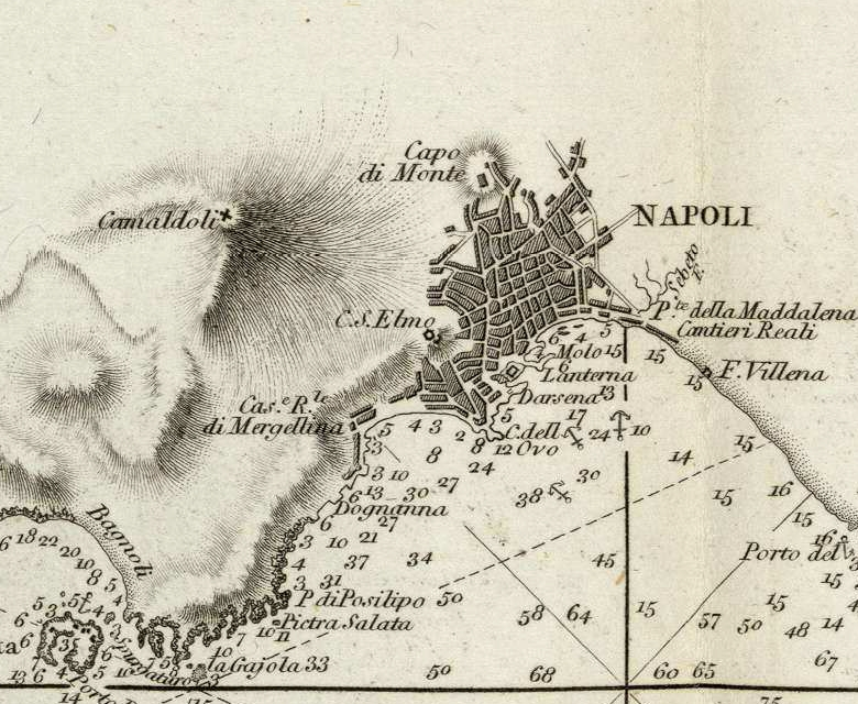 1 Cartografia del Golfo di Napoli da Le Petit Neptune del 1793 - Dettaglio Napoli - vesuvioweb 2014