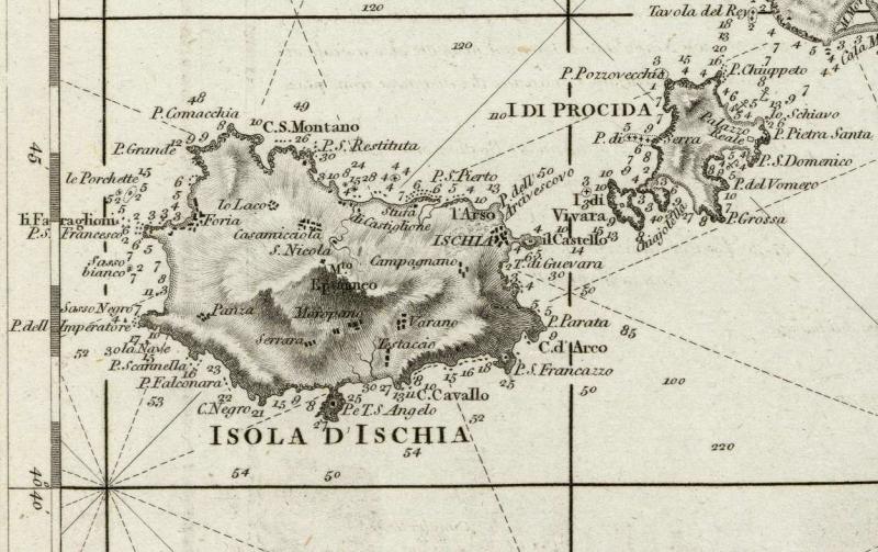 1 Cartografia del Golfo di Napoli da Le Petit Neptune del 1793 - Dettaglio isola Ischia e Nisida - vesuvioweb 2014