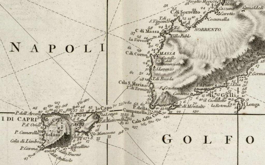 1 Cartografia del Golfo di Napoli da Le Petit Neptune del 1793 - Dettaglio isola di Capri e Sorrento - vesuvioweb 2014