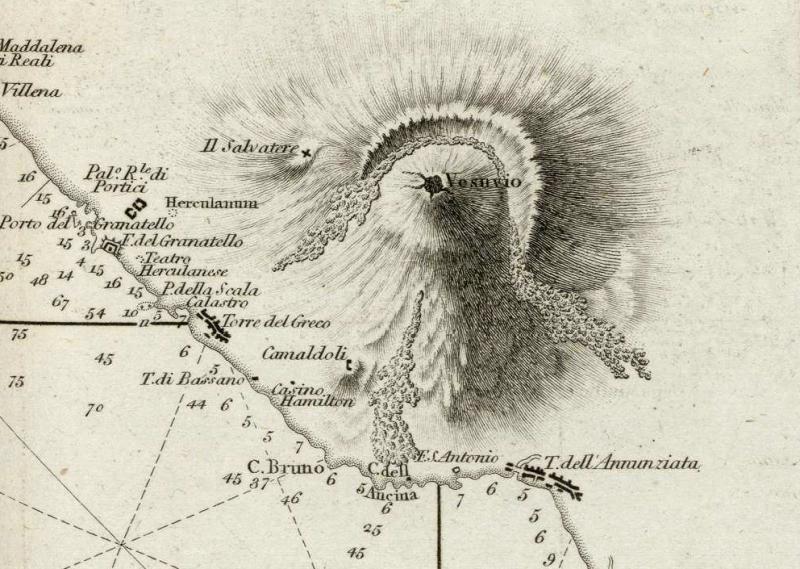 1 Cartografia del Golfo di Napoli da Le Petit Neptune del 1793 - Dettaglio la costa a sud e Vesuvio - vesuvioweb 2014
