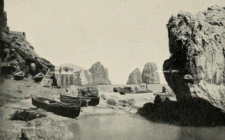 9 Capri Marina Piccola scoglio delle Sirene e Faraglioni - John L Stoddard's lectures 1909 - vesuvioweb 2016