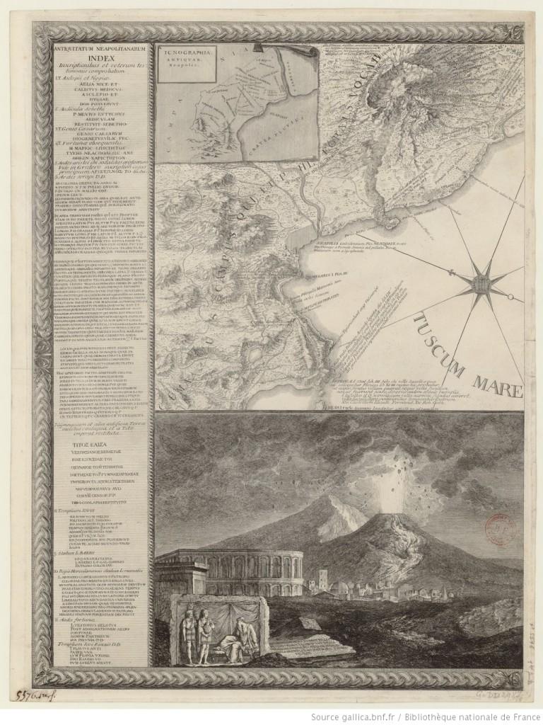Cartografia del Vesuvio - Crateris Neapolitani incisa da Anton Cardon 1750 circa - Da Gallica Biblioteca Nazionale di Francia