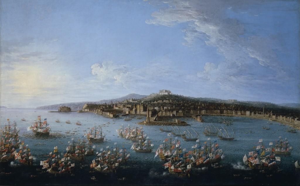 Napoli 1759 - Carlo III lascia il porto di Napoli - Prado - vista dal mare