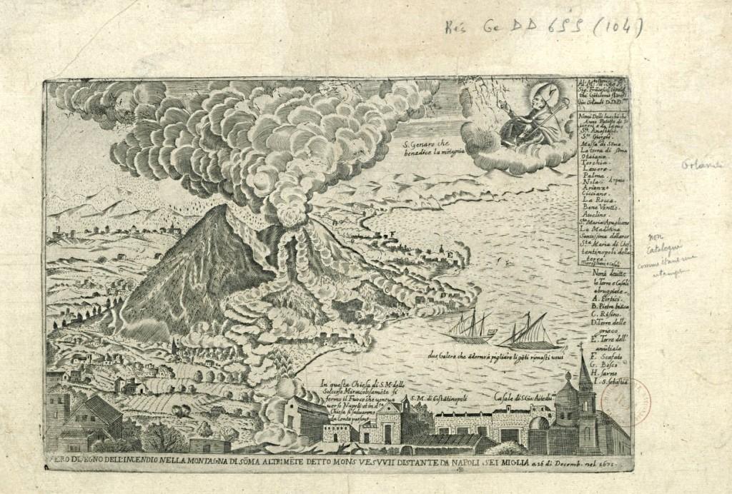 Vesuvio e eruzione del 1631 di Giovanni Orlandi - Da biblioteca Nazionale di Francia