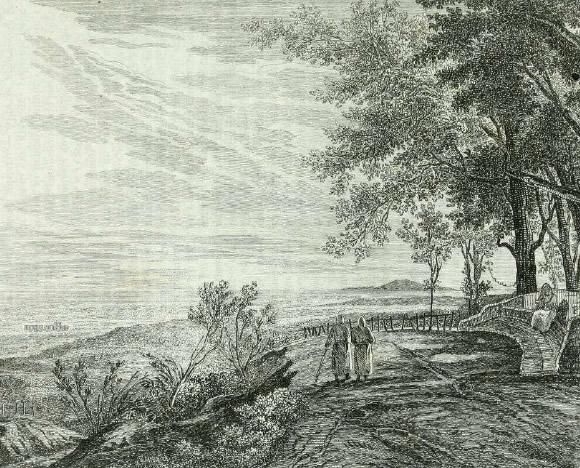 Napoli dalla Collina dei Camaldoli. Stampa del 1841. Archivio vesuvioweb