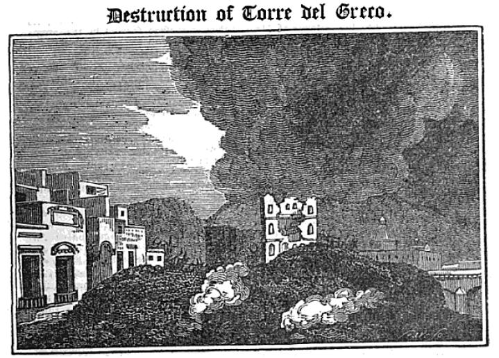 L'eruzione del Vesuvio del 1794. La città di Torre del Greco invasa dalla lava.
